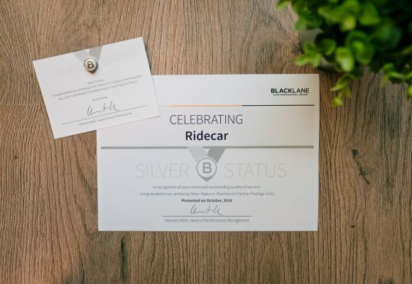 RIDECAR awarded Silver Partner status in Blacklane Prestige Club